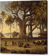 Moonlit Scene Of Indian Figures And Elephants Among Banyan Trees Canvas Print