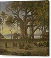 Moonlit Scene Of Indian Figures And Elephants Among Banyan Trees. Upper India Canvas Print