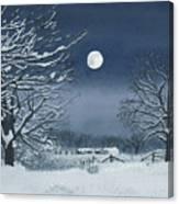 Moonlit Snowy Scene On The Farm Canvas Print