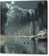 Moonlit Waters-loons Canvas Print