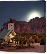 Moonrise At Superstition Mountain Canvas Print