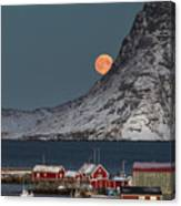Moonrise In Reine Canvas Print