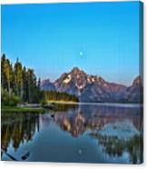 Moonset On Jackson Lake Canvas Print