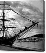 Moored At Hobart Bw Canvas Print