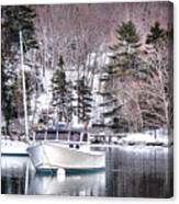 Moored Boats In Maine Winter  Canvas Print