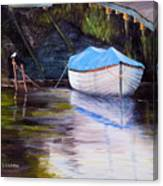 Moored Rowing Boat Canvas Print