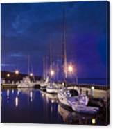 Moored Sailboats Canvas Print
