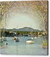 Moored Yachts In A Sheltered Bay Canvas Print