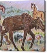 Moose And Horses Animal Vignette From River Mural Canvas Print