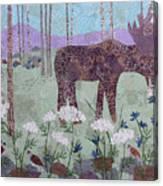 Moose And Three Sparrows Canvas Print