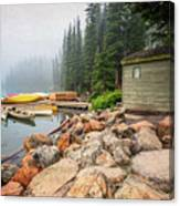 Moraine Lake And Boathouse Canvas Print