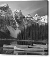 Moraine Lake In Black And White Canvas Print