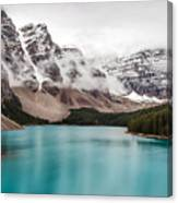 Moraine Lake In The Clouds Canvas Print
