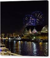 More Fireworks At Newcastle Quayside On New Year's Eve Canvas Print