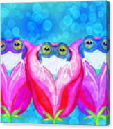 More Rose City Rain Frogs Canvas Print
