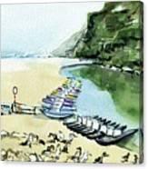 Morning At Porto Novo Beach Canvas Print