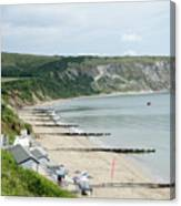 Morning Bay Pt Looking Up Swanage Bay On A Summer Morning Beach Scene Canvas Print
