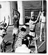 Morning Calisthenics On The Rms Queen Mary 1938 Canvas Print