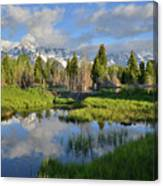 Morning Clouds Over Tetons Canvas Print