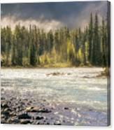 Morning Fog At Athabasca River Canvas Print