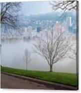 Morning Fog Over City Of Portland Skyline Canvas Print