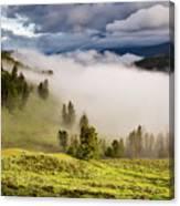 Morning Fog Over Yellowstone Canvas Print