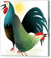 Morning Glory Rooster And Hen Wake Up Call Canvas Print