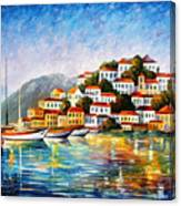 Morning Harbor - Palette Knife Oil Painting On Canvas By Leonid Afremov Canvas Print