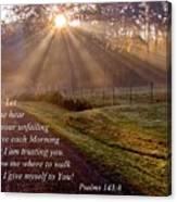 Morning Psalms Scripture Photo Canvas Print