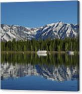 Morning Reflection Boats On Colter Bay Canvas Print