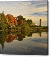 Morning Reflections Of Autumn Colours On A Farm Pond Canvas Print