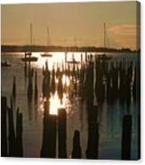 Morning Sunrise Over Bay. Canvas Print