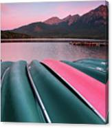 Morning View Of Pyramid Lake In Jasper National Park Canvas Print