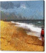 Morning Walk Along The Beach Canvas Print