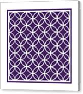 Moroccan Endless Circles I With Border In Purple Canvas Print