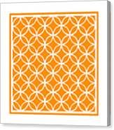 Moroccan Endless Circles I With Border In Tangerine Canvas Print