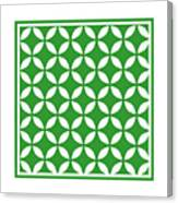 Moroccan Endless Circles II With Border In Dublin Green Canvas Print