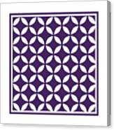 Moroccan Endless Circles II With Border In Purple Canvas Print