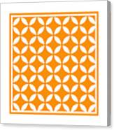 Moroccan Endless Circles II With Border In Tangerine Canvas Print
