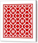 Moroccan Floral Inspired With Border In Red Canvas Print