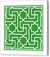 Moroccan Key With Border In Dublin Green Canvas Print