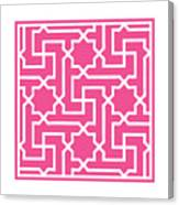 Moroccan Key With Border In French Pink Canvas Print