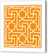 Moroccan Key With Border In Tangerine Canvas Print