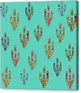 Mosaic Cacti On Aqua Canvas Print