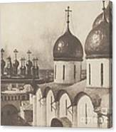 Moscow, Domes Of Churches In The Kremlin Canvas Print