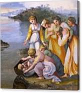 Moses Saved From The Waters Raffaello Sanzio Da Urbino Raphael Raffaello Santi Canvas Print