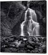 Moss Glen Falls - Monochrome Canvas Print