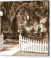 Mossy Live Oak And Picket Fence Canvas Print