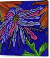 Most Unusual Poinsettia In A Midnight Blue Sky Canvas Print