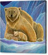 Mother And Baby Polar Bears Canvas Print